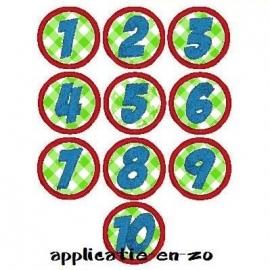 serie van 10 buttons met getallen ( 1 t/m 10)