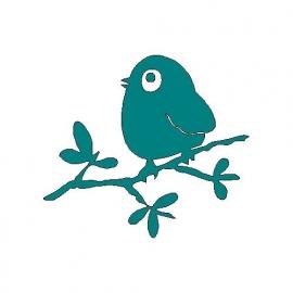 veloursmotief `vreemde vogel` op tak (turquoise)