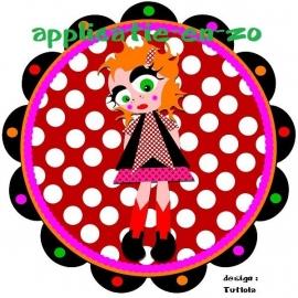 SUPER full color strijkapplicatie little dot girl