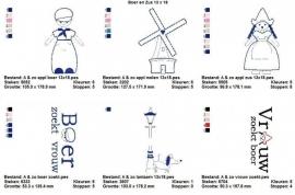 serie van 4 (of 6) Boer en Zus patronen