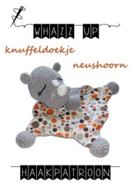 WHAZZ UP haakpatroon knuffeldoekje neushoorn
