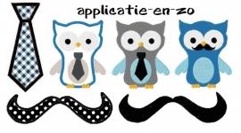 serie van 6 patroontjes van uiltjes, stropdassen en snorren