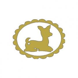 gouden opstrijk motief hertje in frame