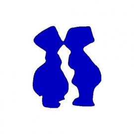 veloursmotief hip hollands zoenend stel blauw