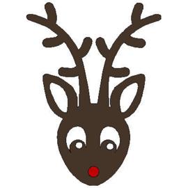 veloursmotief Rudolph het rendier (met rode neus)