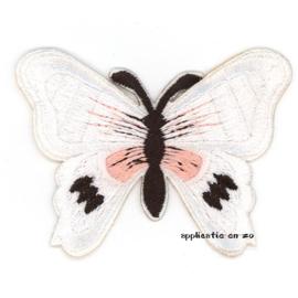 strijkapplicatie vlinder wit met roze