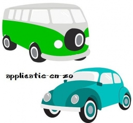 SUPER full color strijkapplicaties VW bus en kever