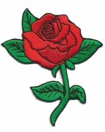 strijkapplicatie roos op steel rood