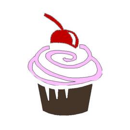 veloursmotief cupcake in 3 kleuren