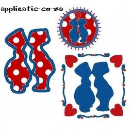 serie van 3 hippe Hollandse applicatie patronen (zoenend setje)