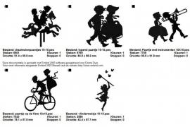 serie van 5 silhouetten