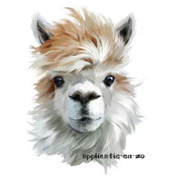 SUPER full color strijkapplicatie Alpaca