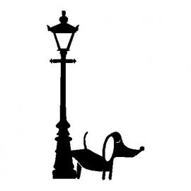 veloursmotief plassend hondje