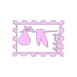 veloursmotief postzegel met ooievaar roze