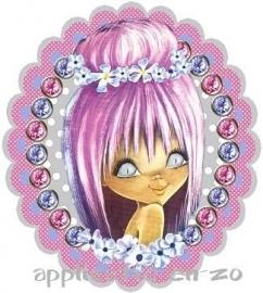 SUPER full color strijkapplicatie vintage meisje roze-blauw