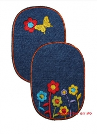 kniestukken vlinder en bloemen spijkerstof (2 stuks) opstrijkbaar