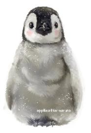 SUPER full color strijkapplicatie pinguin