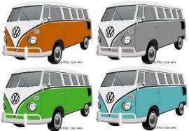 WHAZZ full color strijkapplicatie vw bus (keuze uit 4 kleuren)