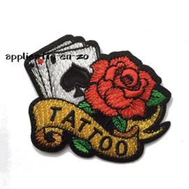 strijkapplicatie tattoo roos met kaarten