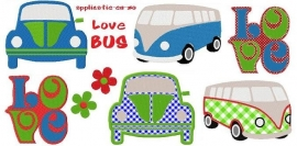serie van 7 (applicatie) patronen Love Bus