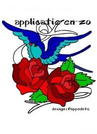 SUPER full color aplicatie tattoo bird met rozen