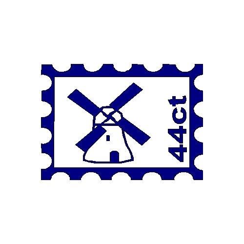 veloursmotief postzegel met molen