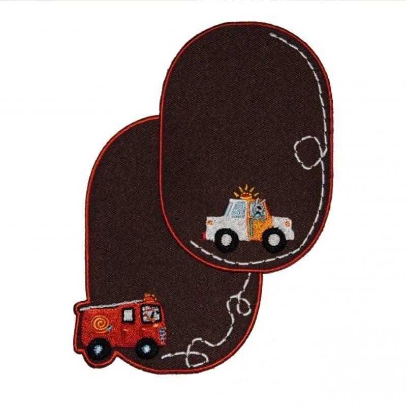 kniestukken auto bruin (2 stuks) opstrijkbaar