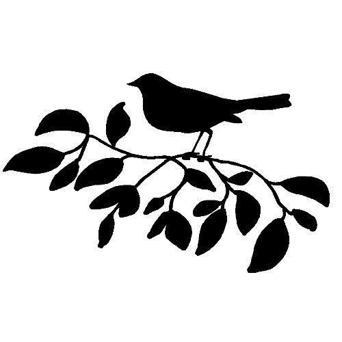 veloursmotief vogel op tak zwart