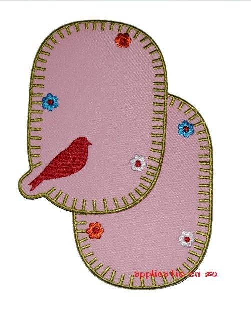 kniestukken vogeltje roze (2 stuks) opstrijkbaar