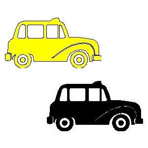 veloursmotief taxi (geel of zwart)