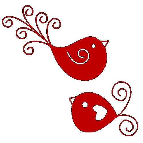 veloursmotieven rode vogeltjes