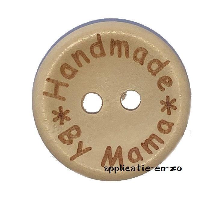 Houten knoopjes 'Handmade By Mama' 20mm (4st)