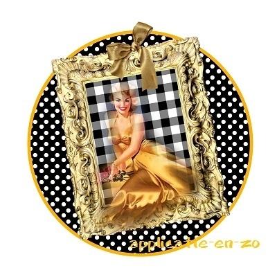 SUPER full color strijkapplicatie dame in gouden lijst