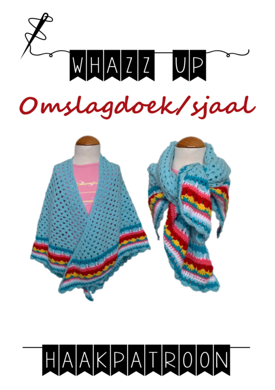 WHAZZ UP haakpatroon omslagdoek/ sjaal licht blauw