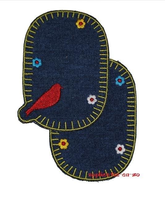 kniestukken vogeltje spijkerstof (2 stuks) opstrijkbaar
