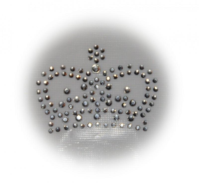 Rhinestone strijkapplicatie kroon rond
