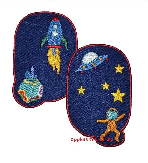 kniestukken ruimtevaart donker blauw (2 stuks) opstrijkbaar