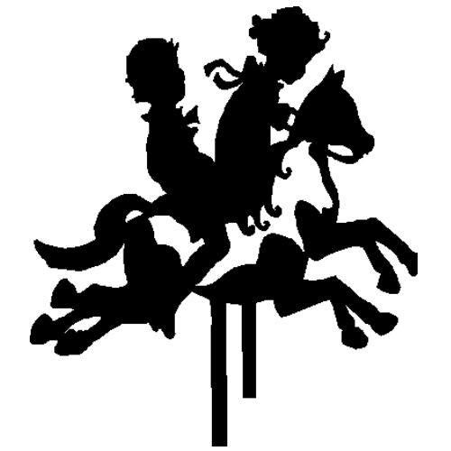veloursmotief silhouette jongen en meisje op paardjes