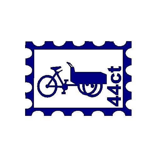 veloursmotief postzegel met bakfiets
