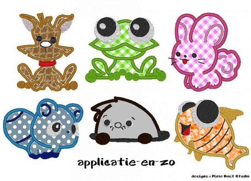 serie van 6 applicatie Critters