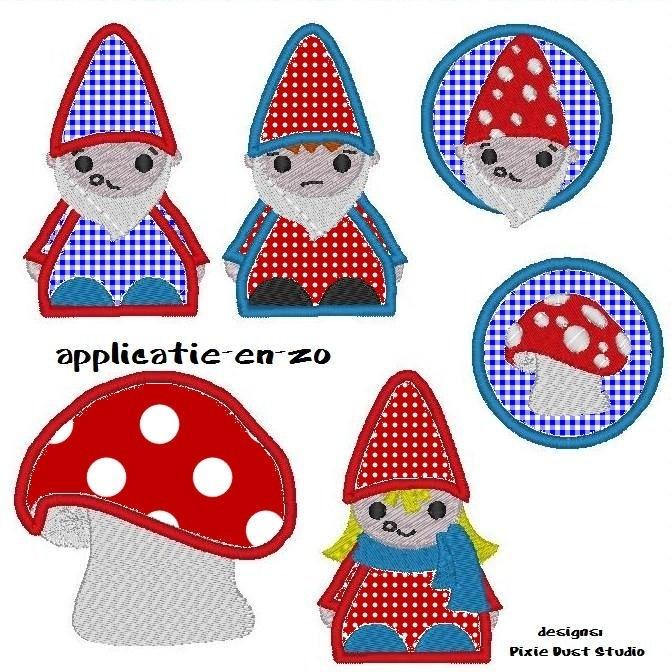 serie van 6 borduurmachine patronen van kabouters