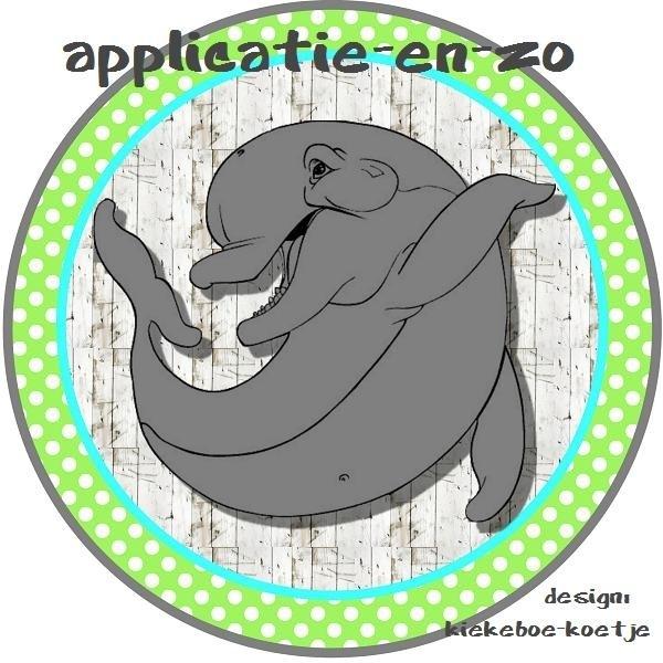 SUPER full color applicatie dolfijn lime/blauw