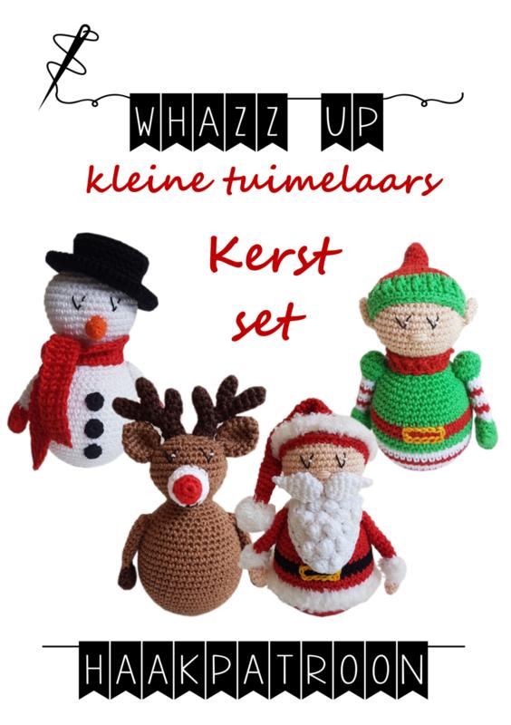 WHAZZ UP haakboekje (set) tuimelaar Kerstman, Rudolph, kerstelf en sneeuwpop