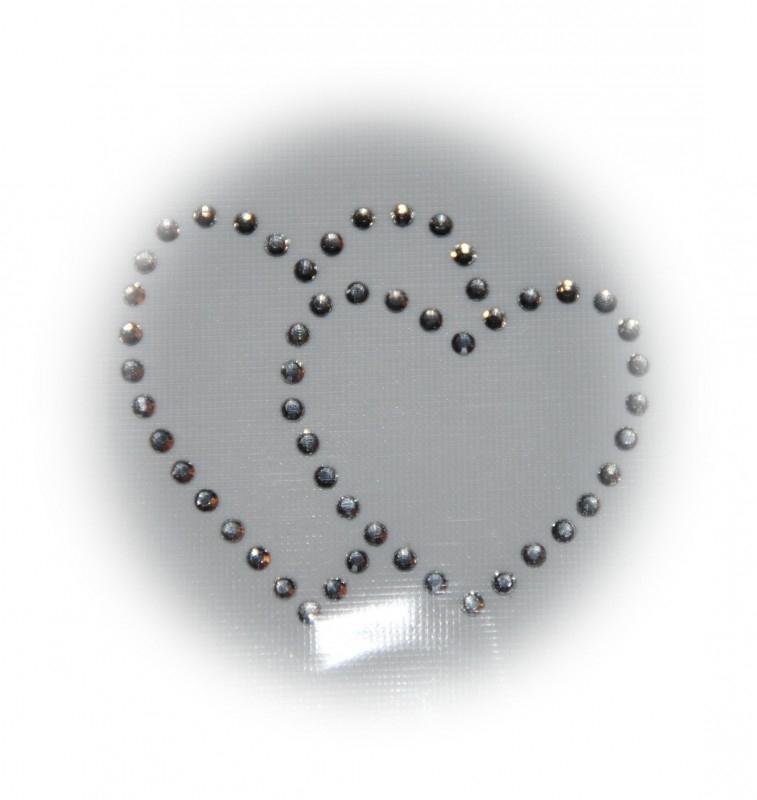 Rhinestone strijkapplicatie hart in hart