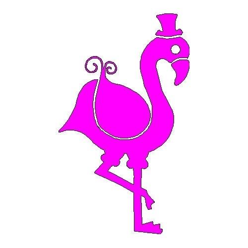 veloursmotief flamingo