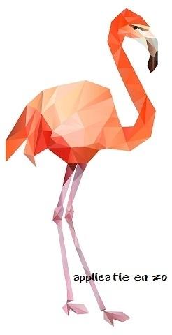 SUPER full color strijkapplicatie flamingo geometrisch