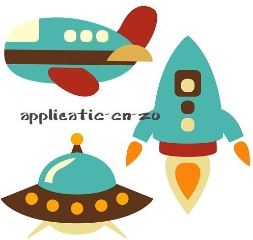 SUPER full color strijkapplicaties ruimtevaartuigen en vliegtuig