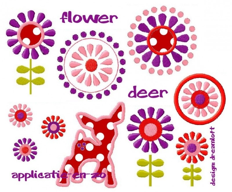 serie van 7 (applicatie)patronen flower deer
