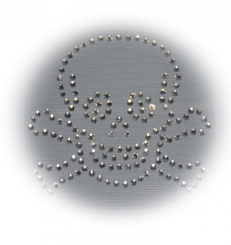 Rhinestone strijkapplicatie skull