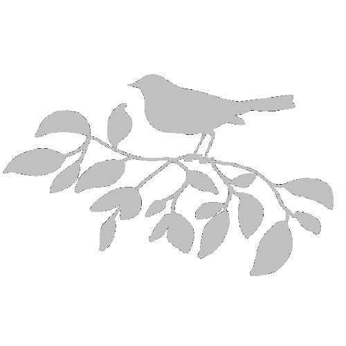 veloursmotief vogel op tak wit